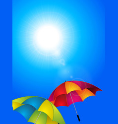 Sunny blue sky and umbrella background vector