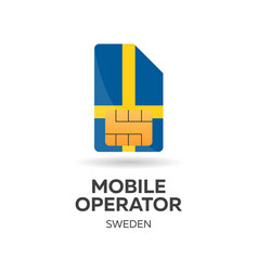Sweden mobile operator sim card with flag vector