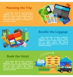 Travel planning booking flat banners set vector