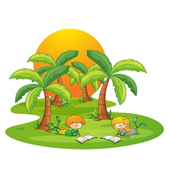 Two kids in the island reading near the coconut vector image