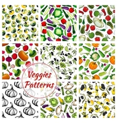 Vegetables seamless patterns set of veggies icons vector