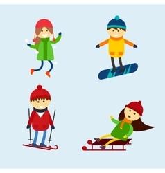 Winter games kids vector