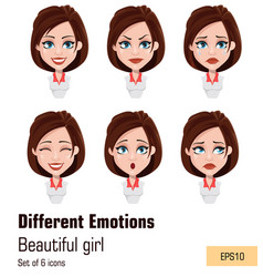 young attractive girl with different emotions vector image