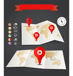 Earth maps set with weather icons and red pins vector