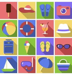 Icon set flat travel objects vector