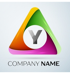 Letter Y logo symbol in the colorful triangle vector image