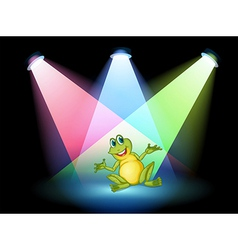 A frog on the stage with spotlights vector