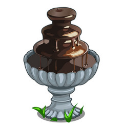 Chocolate fountain in architectural bowl vector