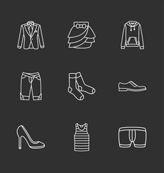 Nine modern clothes icons vector