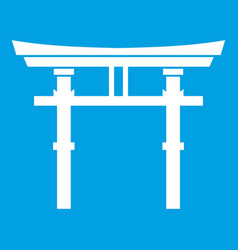 Japanese torii icon white vector