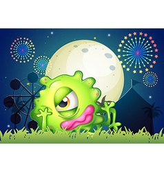A monster resting in front of the carnival vector image