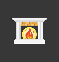 Fire and fireplace icon flat design vector