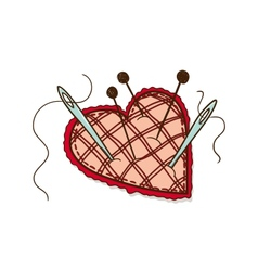 Pin cushion in a heart shape vector