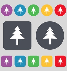Christmas tree icon sign a set of 12 colored vector