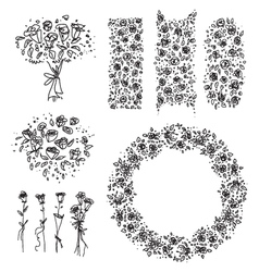 Freehand drawn floral design elements vector