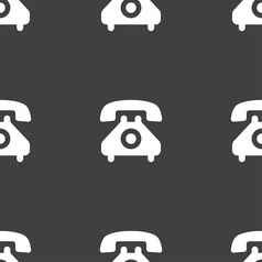 Retro telephone handset icon sign seamless pattern vector