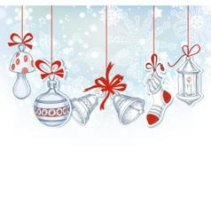 Christmas ornaments festive background vector