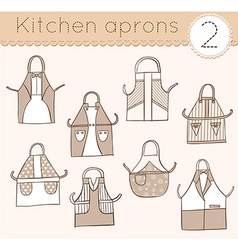Set of kitchen aprons 2 vector