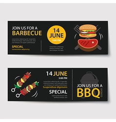 barbecue invitation party template flat design set vector image