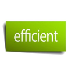 Efficient green paper sign isolated on white vector