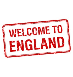 Welcome to england red grunge square stamp vector
