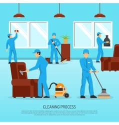 Industrial cleaning team work flat poster vector