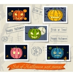 Vintage halloween post stamps set vector