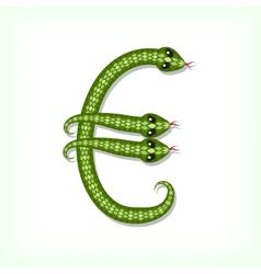 Snake font euro symbol vector