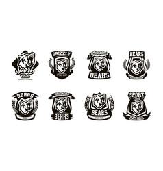 a set of logos emblems a growling bear vector image vector image