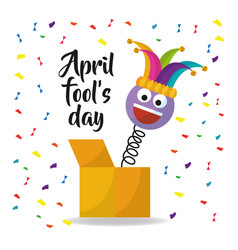 April fools day card with emoji smile hat confetti vector