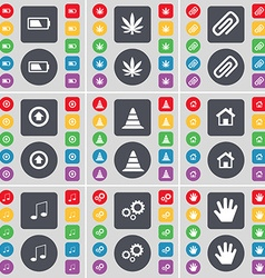 Battery marijuana clip arrow up cone house note vector