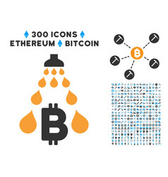 Bitcoin laundering shower flat icon with clip art vector