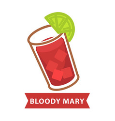Bloody mary with ice and slice of lime in glass vector