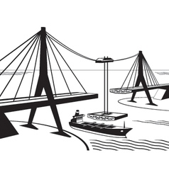 Building of suspended bridge vector image