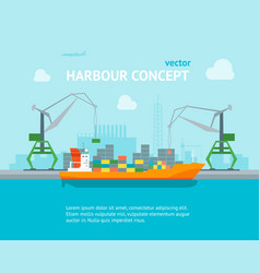 Cartoon harbour of port town concept banner card vector