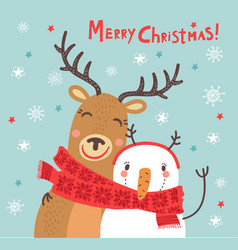 christmas card with a deer and a snowman vector image vector image