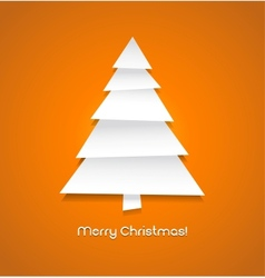 Christmas tree made from pieces of white paper vector image vector image