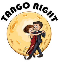 Couple dancing on fullmoon night vector
