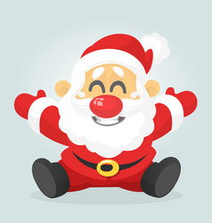 funny excited cartoon santa claus sitting vector image