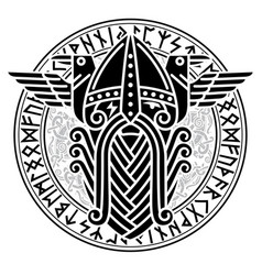 God wotan and two ravens in a circle of norse vector