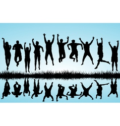 Group of young people jumping vector