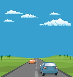 landscape background road with cars in green vector image vector image