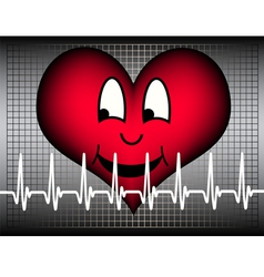 Laughing heart on grey with white cardio line vector