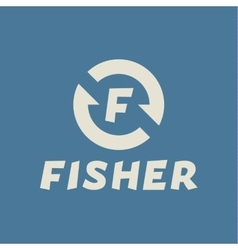 Logo abstract hook letter f fisher flat trend vector