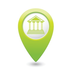 Museum icon green map pointer vector