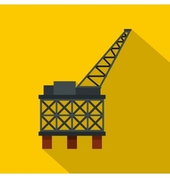 Oil rig platform icon flat style vector