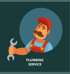 plumbing service promotional poster with plumber vector image vector image