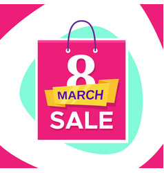 Promo banner design for 8 march sale vector