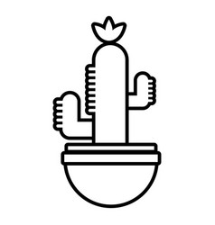 Ribbed cactus icon outline line style vector