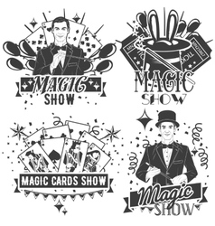 set of magic show labels in vintage style vector image
